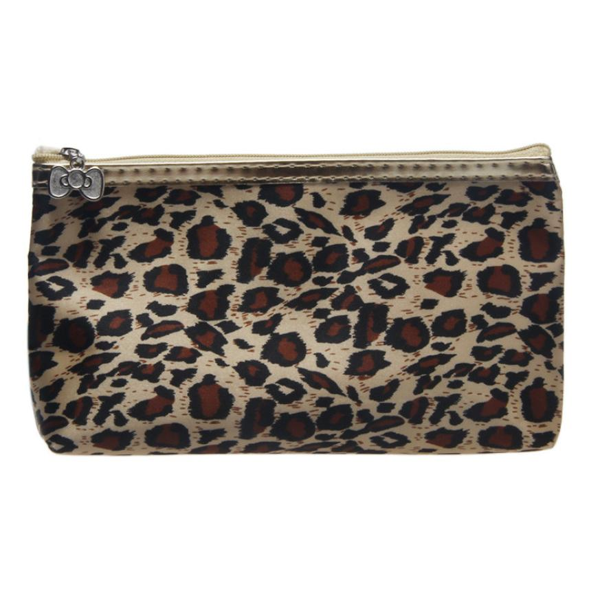 HOT New Arrival 11.5*19cm/4.53*7.48(H x W) Leopard Zebra Color Polyeste Material 1PC Portable Storage Makeup Bag
