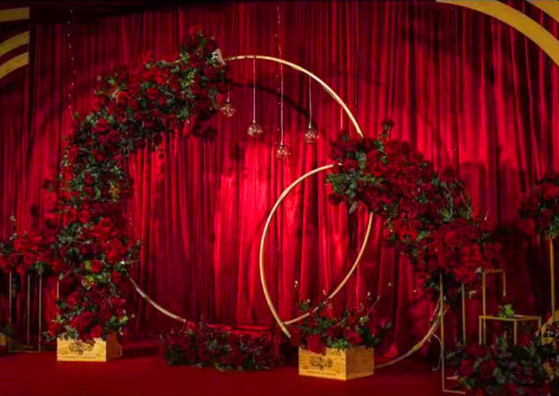 Iron Circle Wedding Birthday Arch Decoration Background Wrought Props Single Arch Flower Outdoor Lawn Mesh Screen  Road Guide