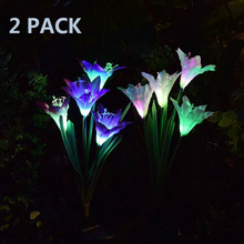 2 Pack Outdoor Solar Garden Light Stake Lights With 8 Lily Flower Multi-Color Changing Lawn Lamp LED Solar Light For Patio Yard
