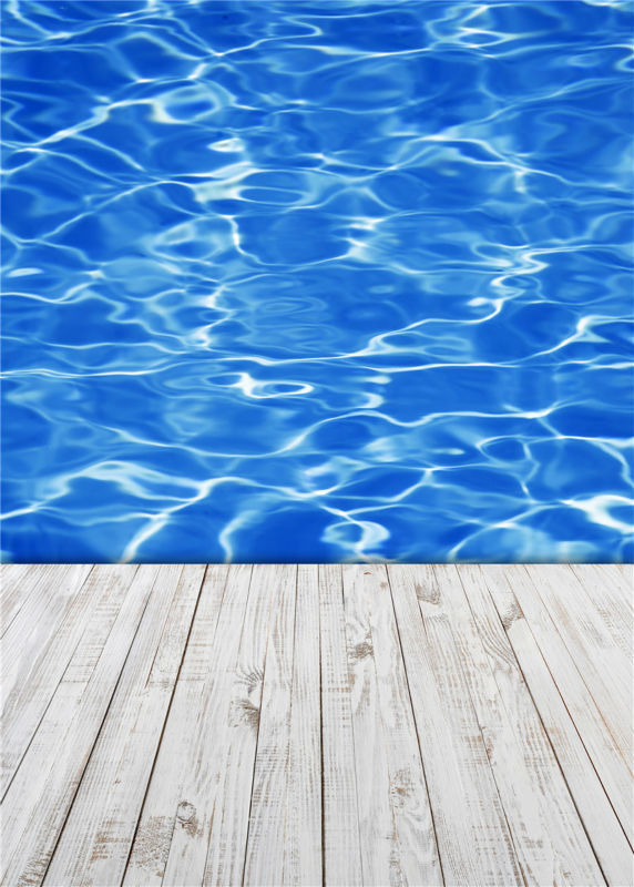 KIDNIU Swimming Pool Photo Studio Props Baby Background Vinyl Photography Backdrops Wooden Floor 5x7ft or 3x5ft JieQX295