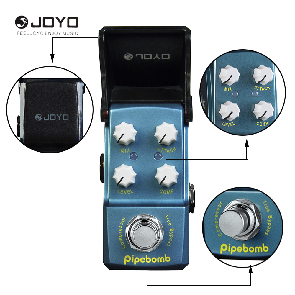 цена на JOYO Ironman Series JF-312 Pipebomb Compressor Mini Electric Guitar Effect Pedal True Bypass