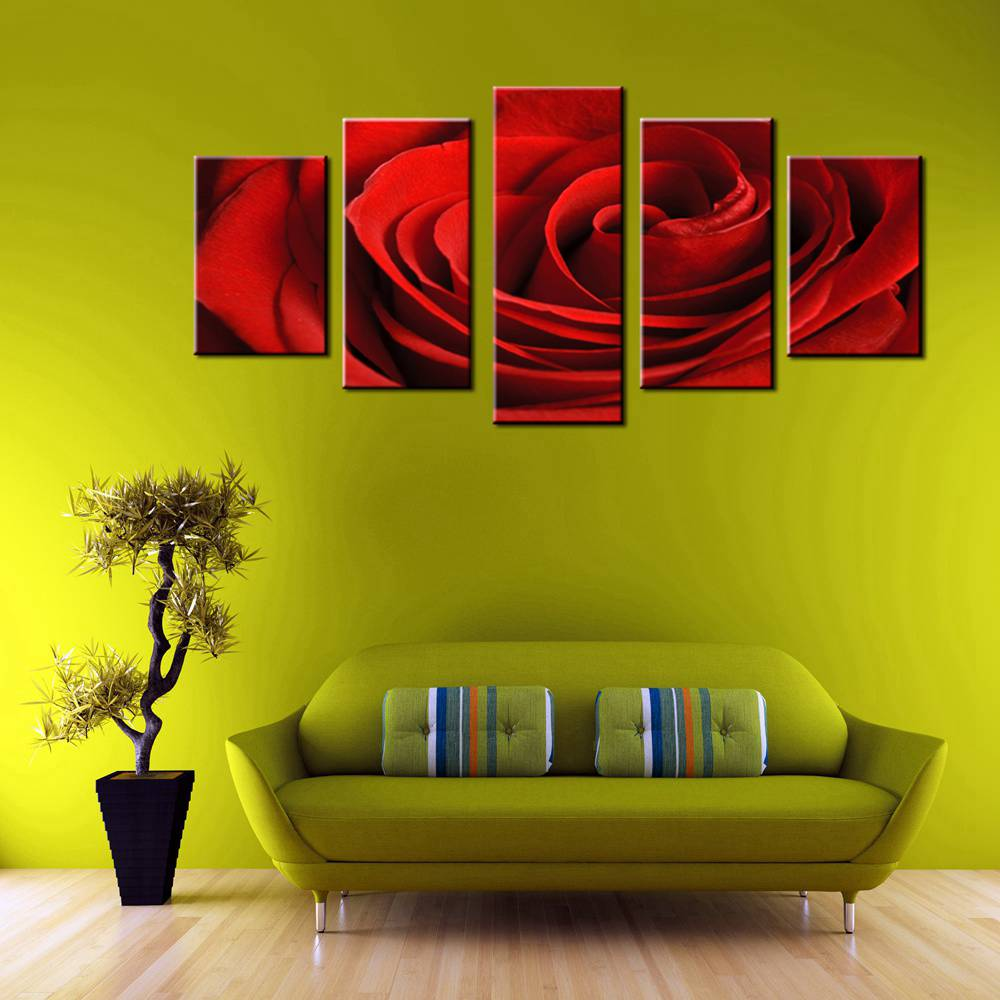 Canvas Print Wall Art Painting Home Decor Red Rose Bright Fresh ...
