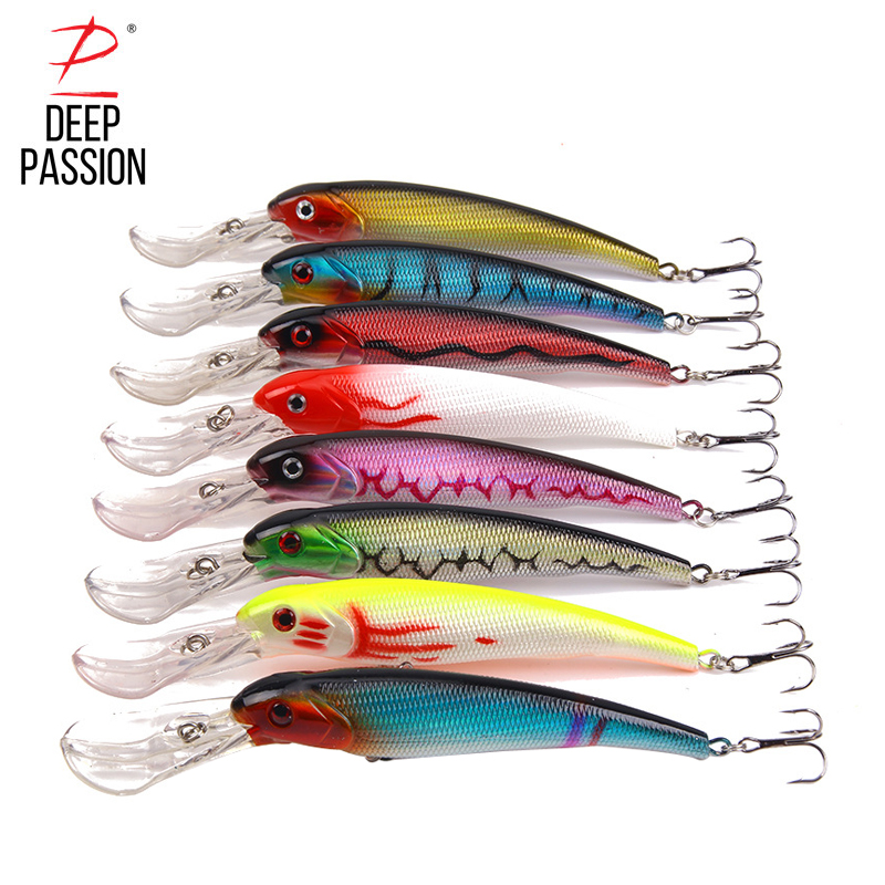 DEEP PASSION 8PC Minnow Crankbait Lure Kit Floating Fishing Baits Set Hard Mini Fishing Water Popper Lure Kit Artificial Baits
