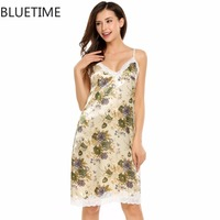 Lady Lace Satin Sexy Lingerie Nightgown Female Nighties Floral Print V Neck Home Nightwear Mini Night