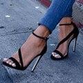 Shofoo обувь. новые бесплатная доставка, черный замша, минималистский сандалии женщин, stiletto сандалии. РАЗМЕР: 34-45