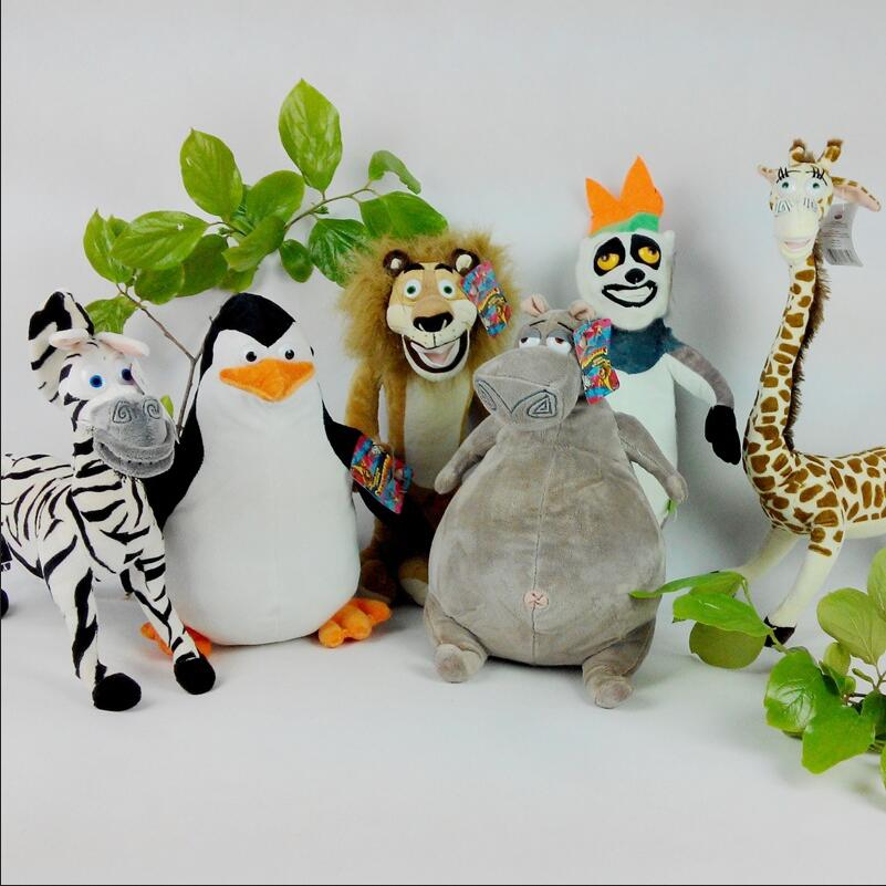 6pcs/set new cartoon plush toy  Penguins giraffe figurines Hippo lion zebra of Madagascar kowalski for best gift the huge lovely hippo toy plush doll cartoon hippo doll gift toy about 160cm pink