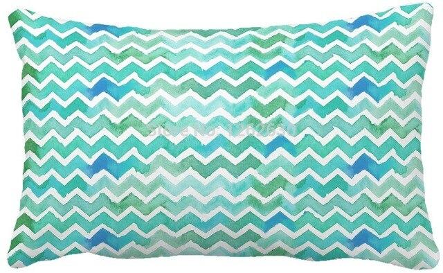 30cmx50cm Green Geometry Watercolor Chevron Print Custom Home Decor Throw Pillow Almofadas Decorate Sofa Chair