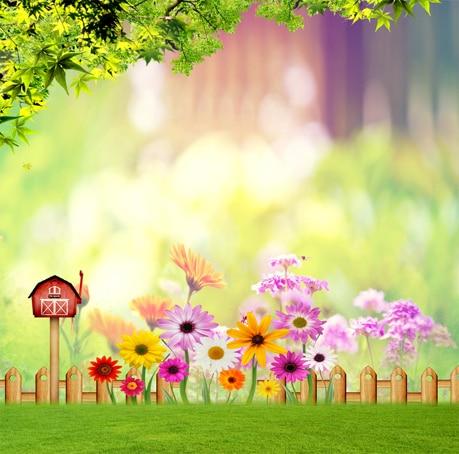8x8ft Green Forest Branch Bokeh Flowers Fence Garden Lawn