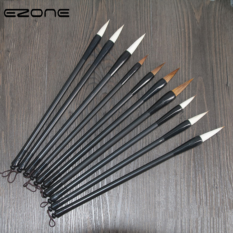 EZONE Chinese Woolden Writing Painting Brushes Set Calligraphy Pen Artist Drawing Watercolor Wolf Painting Brushes Art Supply