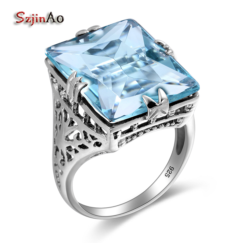 Szjinao 100% 925 Sterling Finger Rings Handmade Elegant New Brand Jewelry Vintage Austrian Aquamarine For Women Wholesale