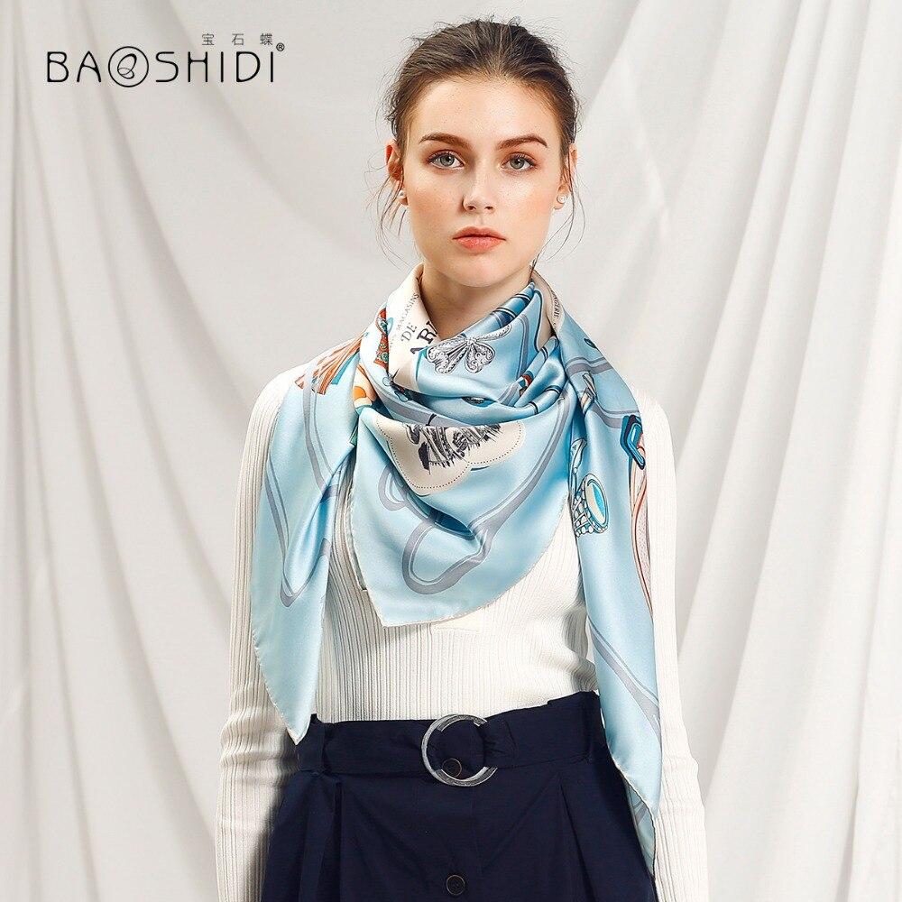 BAOSHIDI High Quality Women Fashion 2018 Scarves 100 pure silk satin fabric scarf Luxury gift