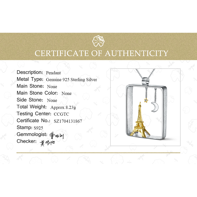 Image 5 - Lotus Fun Real 925 Sterling Silver Handmade Fine Jewelry Eiffel Tower Design Pendant without Necklace Acessorios for Women-in Pendants from Jewelry & Accessories