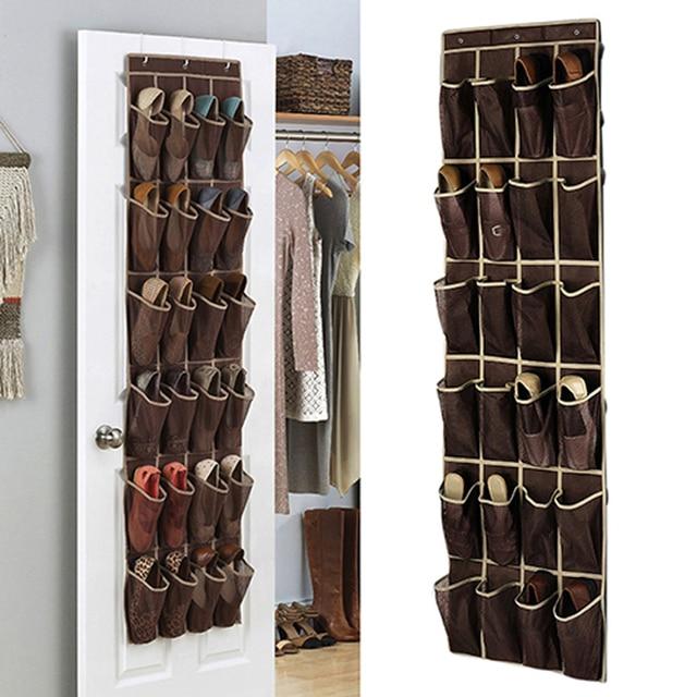 24 grid home over door hanging organizer convenient storage holder rack closet shoes keeping in. Black Bedroom Furniture Sets. Home Design Ideas