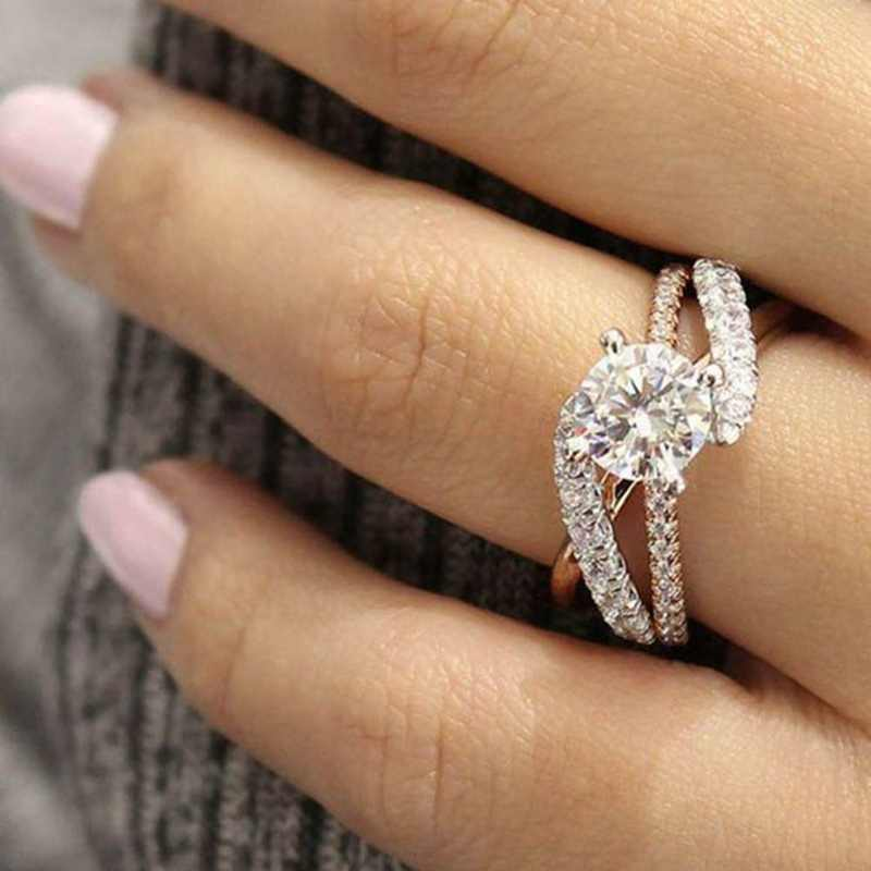 Hot New Women Rose Gold Tone Wedding Ring Full Zircon Female Delicated Engagement Rings Jewelry Trendy