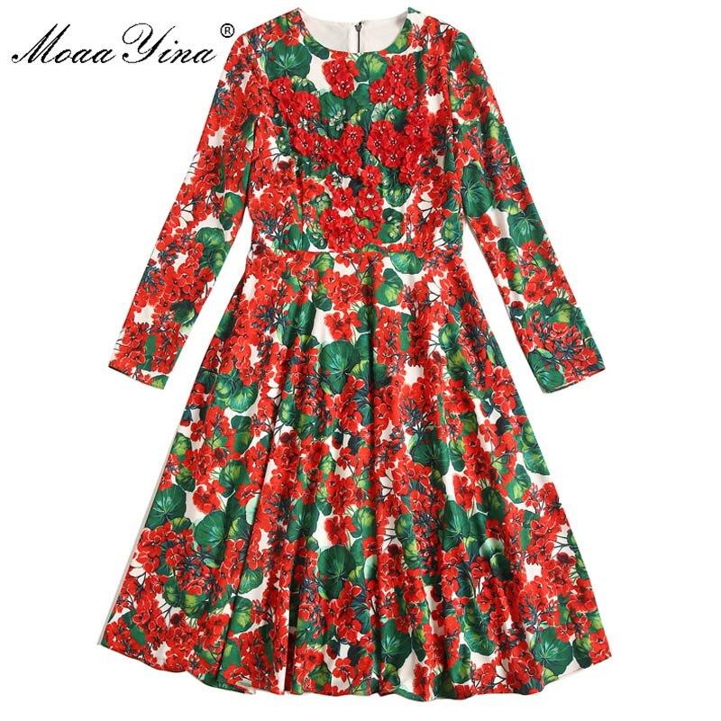 MoaaYina moda diseñador vestido de pasarela primavera otoño mujeres Vestido de manga larga de cristal aplique Floral vestidos-in Vestidos from Ropa de mujer    3