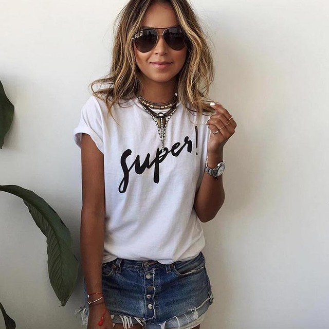 Women Print Super T Shirt White Cotton Letter Tops Tee