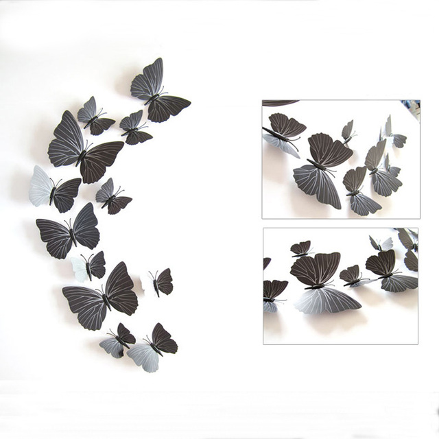 3D Black Butterfly Wall Stickers Set