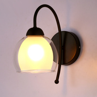 Modern minimalist glass wrought iron wall lamp Antique coffee shop Bedside living room hotel engineering wall lamp lw528622py