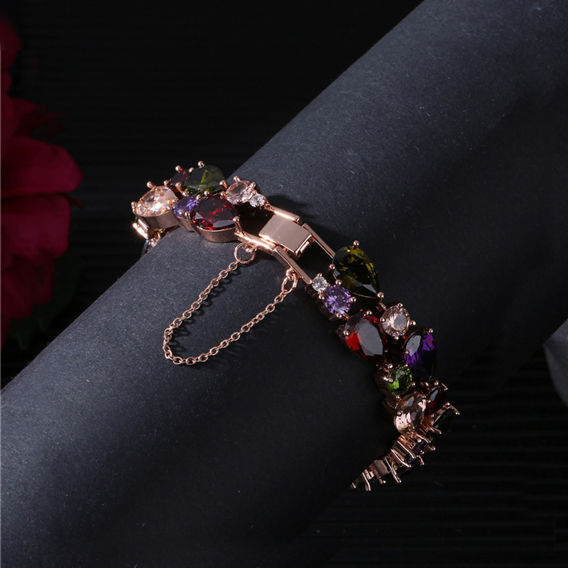 High Quality Rose Gold Color Mona Lisa Zircon Bracelet for Women Multicolor CZ Stones Special Store