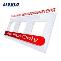 Livolo Luxe Witte Parel Kristal Glas, EU standaard, Triple Glass Panel Voor Muur Schakelaar & Socket, c7-3SR-11 (4 Kleuren)
