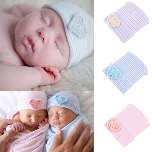 e52ec0b64a9 Cute Newborn Baby Infant Girl Toddler Hats Bowknot Hospital Cap Beanie Hat  Striped Baby Boys Girls