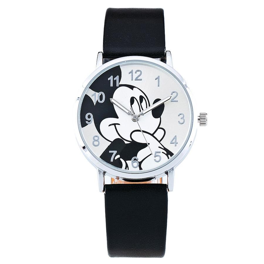 Relogio Feminino Mickey Mouse Women Watches Fashion Casual Cartoon Children Girl Boy Watch Kids Leather Quartz Wrist Watches