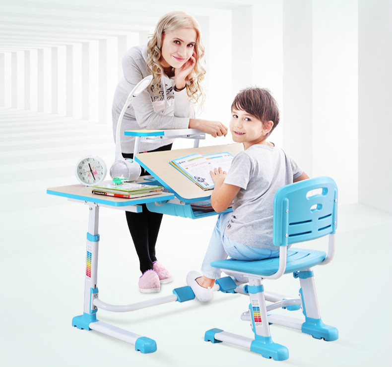 High Quality Adjustable Height Protection Vision For Children Learning Set Of Table And Chair