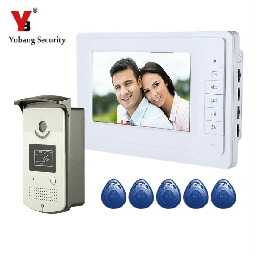 YobangSecurity Wired 7 Inch LCD Video Door Bell Phone Intercom RFID Card Access Control Home Gate Entry System for Apartment yobangsecurity wired 7 inch lcd video door bell phone intercom rfid card access control home gate entry system with door lock