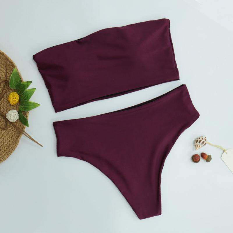 HTB1Ji7wKf5TBuNjSspcq6znGFXai High Leg Bandeau bikini set Swimwear female two pieces swimsuit High Waist Bikini Women Bathing Suit biquini