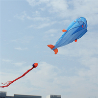 3D Huge Dolphin Fly Kite Soft Parafoil Giant Blue Kite Outdoor Sport Dolphins Flying Kites Toys