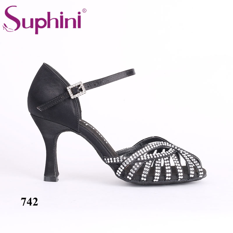 Dance Shoes Woman Salsa Shoes Free Shipping Suphini 8cm Heel Black Latin  Dance Shoes shoes salsa 4515ff27598f