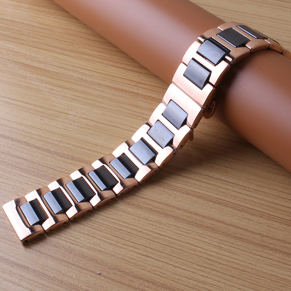 16mm 18mm 20 22mm Ceramic Watchbands FIT Smart Watch Band Stainless Steel Wrap ceramic Watch Strap Black Silver rosegold buckle