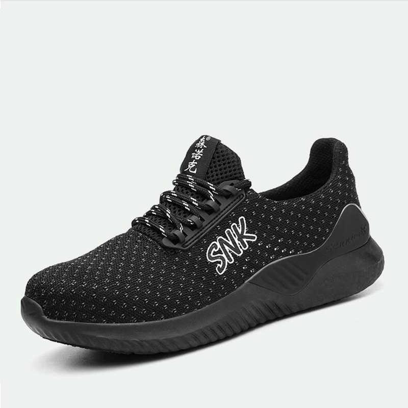 Büyük boy erkek rahat çelik burun iş güvenliği ayakkabıları, anti-delinme şantiye işçi ayakkabı güvenlik düşük çizmeler erkek