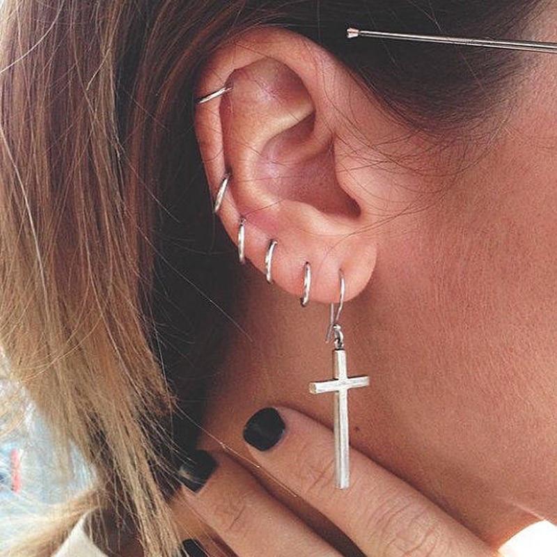 a1c687bdcff9b 925 sterling Silver Trendy Vintage Hoop Sleeper Earrings silver earring 8mm  10mm 20mm Small Hoops Basic Sleepers ear hoop