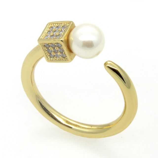 Luxury Brand Jewelry Freshwater Pearl Ring For Women 18K Gold Plated Fashion Couple Ring And AAA Zircon New Wedding Fine Jewelry