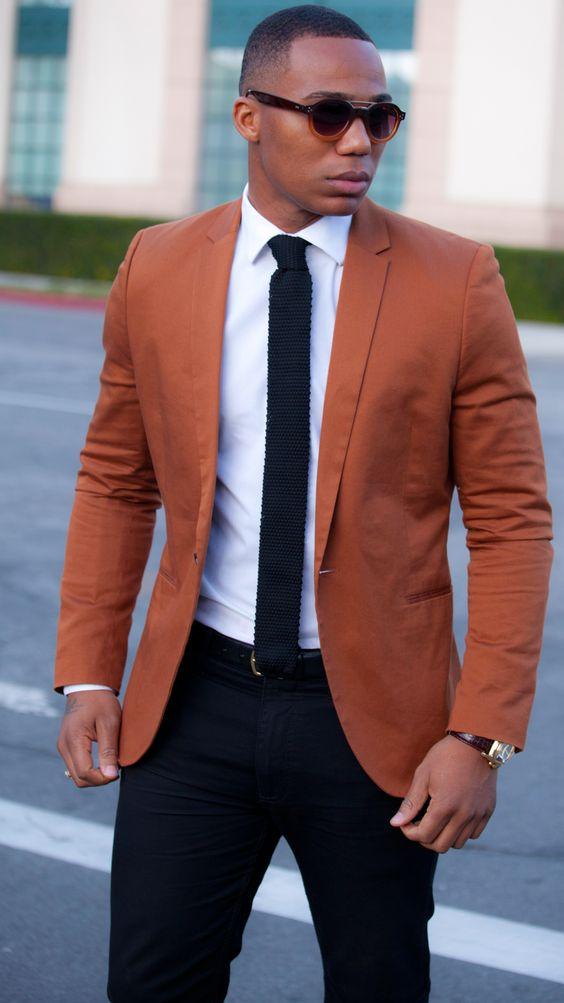 Latest Coat Pant Designs Orange Brown Men Suit Terno Slim Fit 2 ...