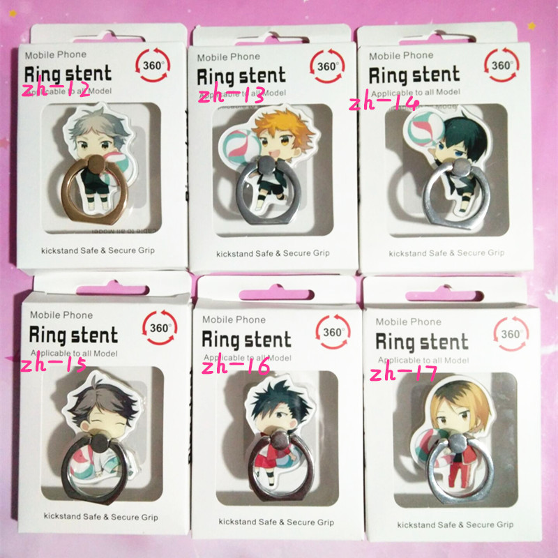 6 Pcs/lot Anime Haikyuu Finger Ring Mobile Phone Stand Phone Holder Acrylic 360 Degree Ring Stent Action Figure Toy Gift