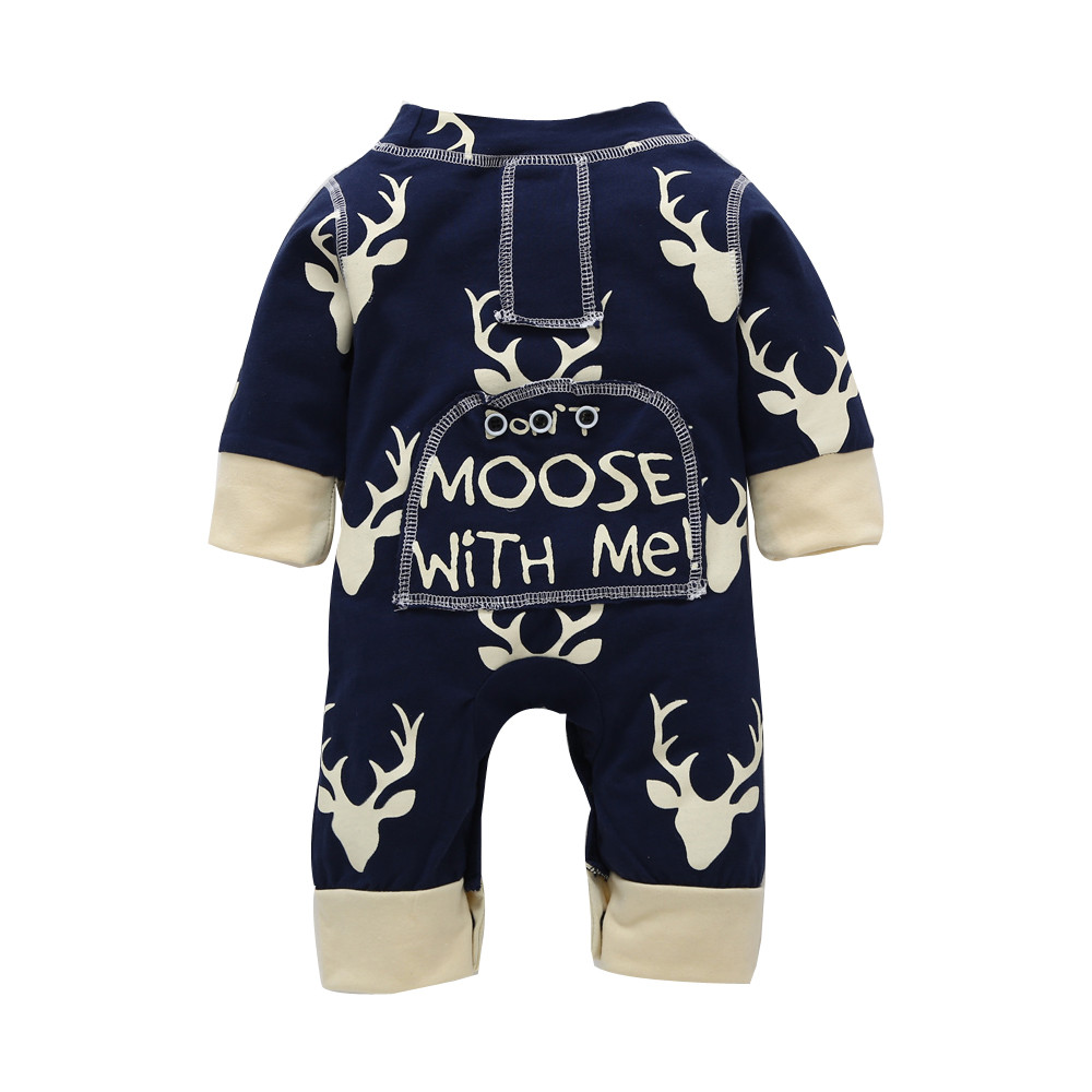 US Newborn Infant Baby Boy Girl Xmas Deer Romper Jumpsuit Casual Outfit Clothes