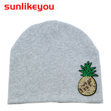 Sunlikeyou New product Newborn Summer Cap For Boys Toddler Kids Hats Pineapple Sequin Cotton Soft Baby Beanie Hat Girls