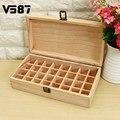 32 agujeros caja de madera 5 ml o 10 ml botellas de aceites esenciales spa yoga club de aromaterapia natural de madera de pino sin pintura