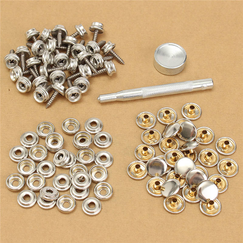 30Set Snap Fastener 5/8 inch Screws With Attaching Tool For Boat Marine Canvas Cover 5pcs lot high quality 2 pin snap in on off position snap boat button switch 12v 110v 250v t1405 p0 5