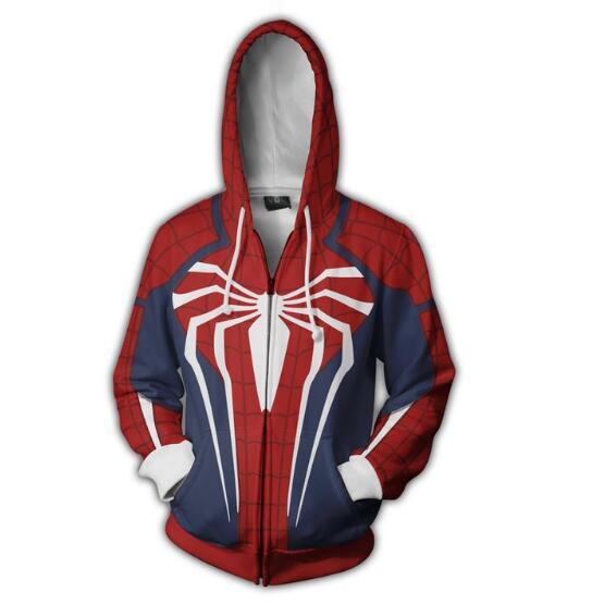 3D Print Avengers Iron Spider man Cosplay Costume Spiderman Homecoming Costume Hoodie Sweatshirts Coat Zipper jacket