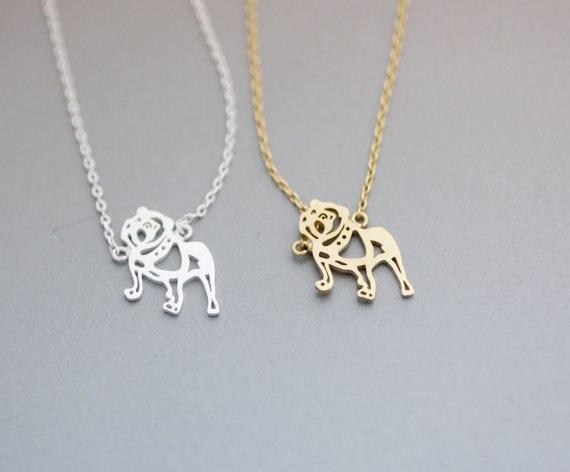 6ef27ce202b9 Margaritas 10 unids lote moda oro plata Tiny bulldog Collares Colgantes para  las mujeres Collier femme