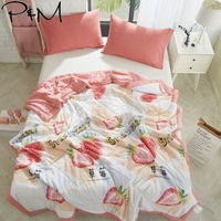 2019 3D Pink Strawberry INS Stitching Comforter Wash Polyester Fabric Thin Summer Quilt Air condition Twin Full Queen Size