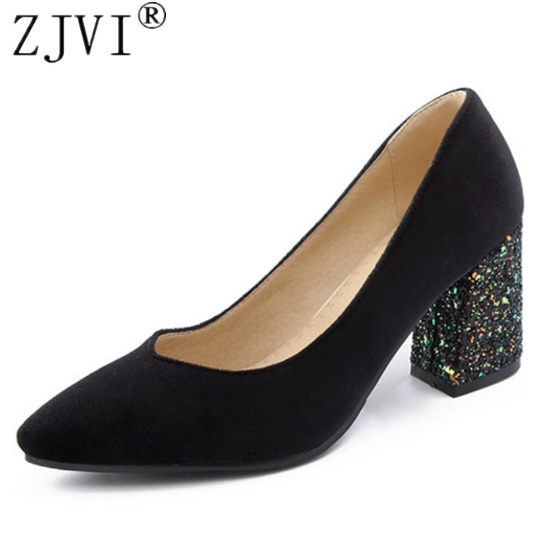 ZJVI women pointed toe square High heels pumps 2018 summer autumn woman nubuck wrok shoes ladies womens sexy suede party pumps