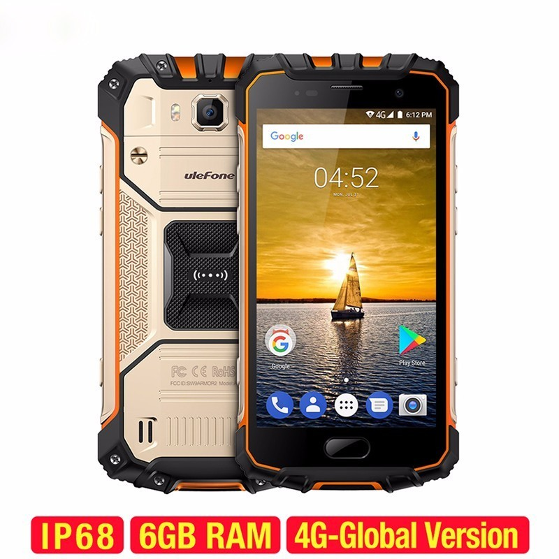 Ulefone Armor 2 IP68 Waterproof Mobile Phone Helio P25 Octa Core 2.6Ghz Android 7.0 6GB+64GB NFC 4700mAh 5.0 Inch CellPhone