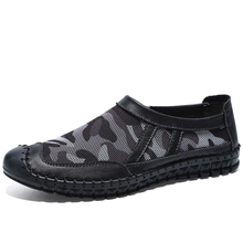 Fotwear Men Full Grain Leather and mesh upper shoes Summer Mesh casual Camouflage color with Protective rubber toe cap