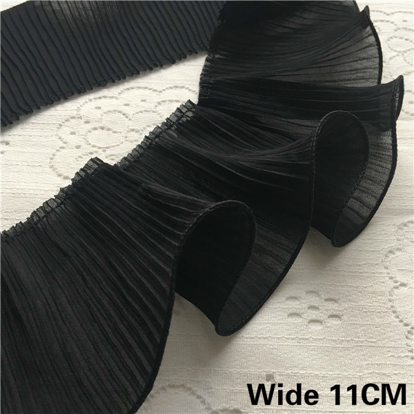 11CM Wide Luxury White Black 3D Pleated Lace Chiffon Applique Elastic Ruffle Trim Ribbon For Garment Dress Sewing Fringe Decor(China)