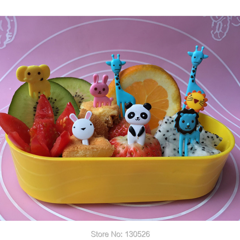 2016 Hot Sales 10pcs New Animal shaped Forks For Kids Food Fruit Picks Forks Bento Children Lunch Box Decor Accessory