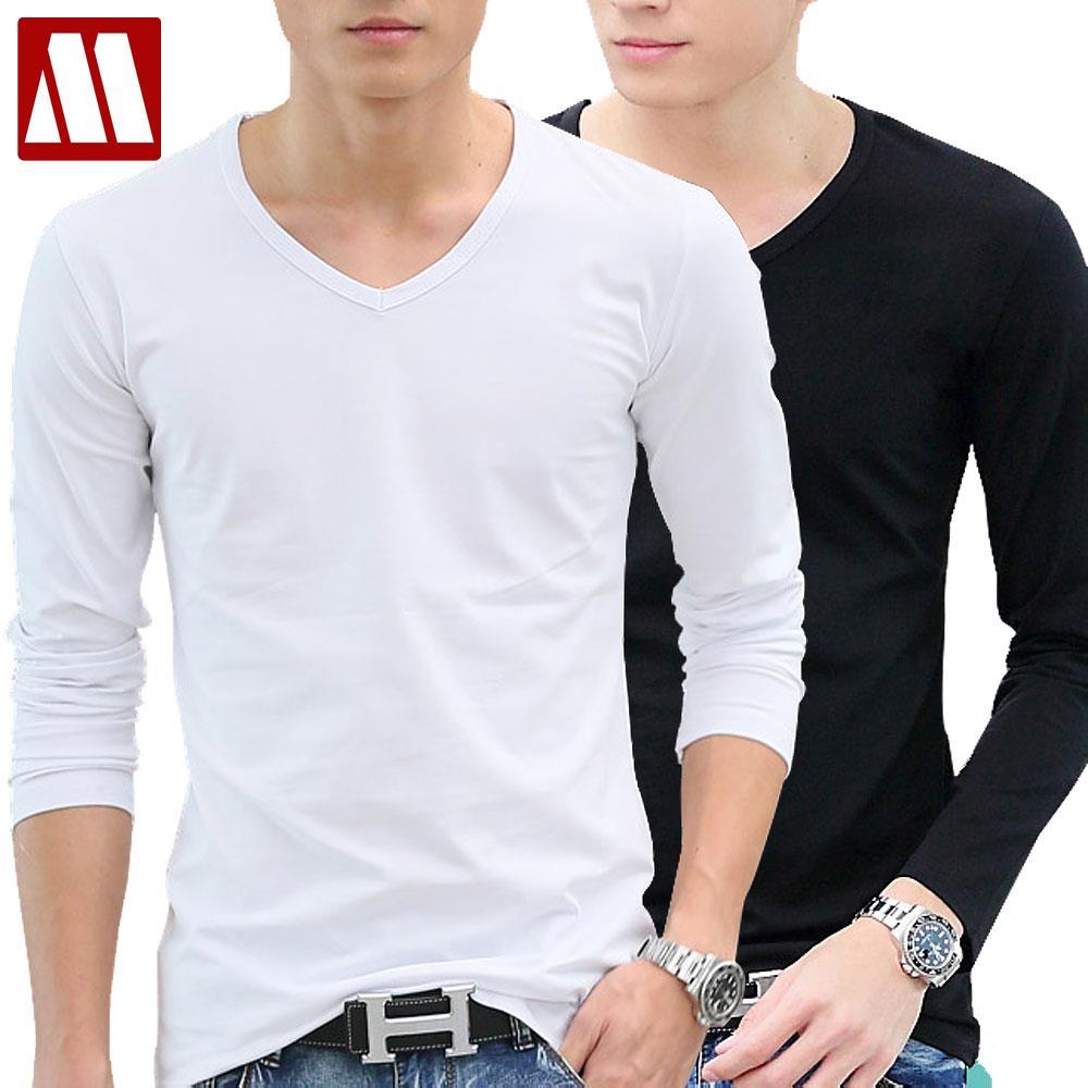 Male Cotton Long Sleeve T Shirt Male V Neck White T Shirt
